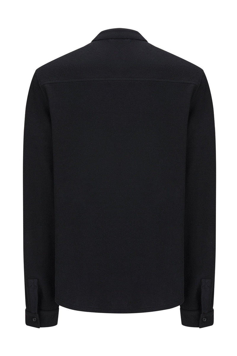 Slim Fit Grandad Collar Shirt - BLACK - Ron Tomson