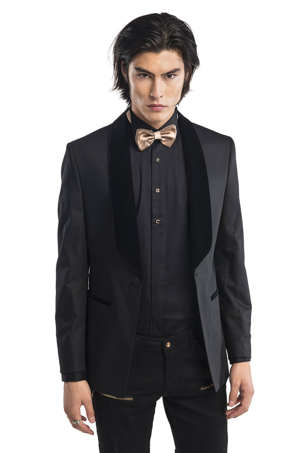 Slim Fit Jewel Button Sleek Long Sleeve Tuxedo Shirt - More Colors-Shirts-Ron Tomson-BLACK-S-Ron Tomson