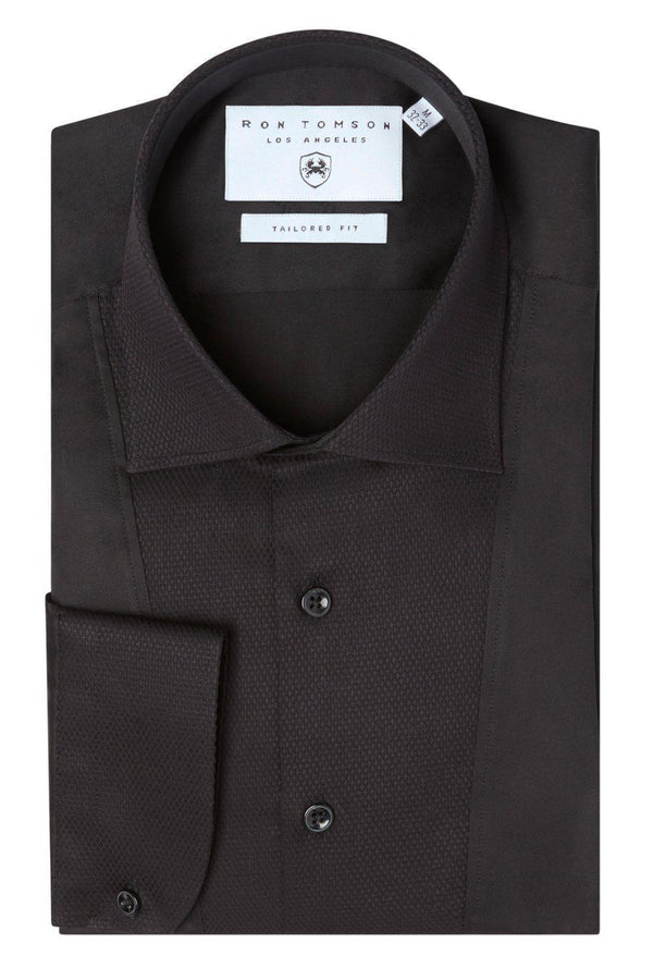 SLIM FIT PIQUE FRONT LONG SLEEVE TUXEDO SHIRT - BLACK - Ron Tomson