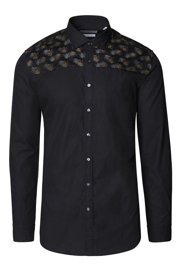 Slim Fit Printed Mesh Shirt- Black Grey