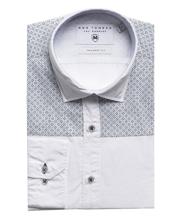 Slim Fit Printed Mesh Shirt- More Colors-Shirts-Ron Tomson-WHITE BLUE-S-Ron Tomson