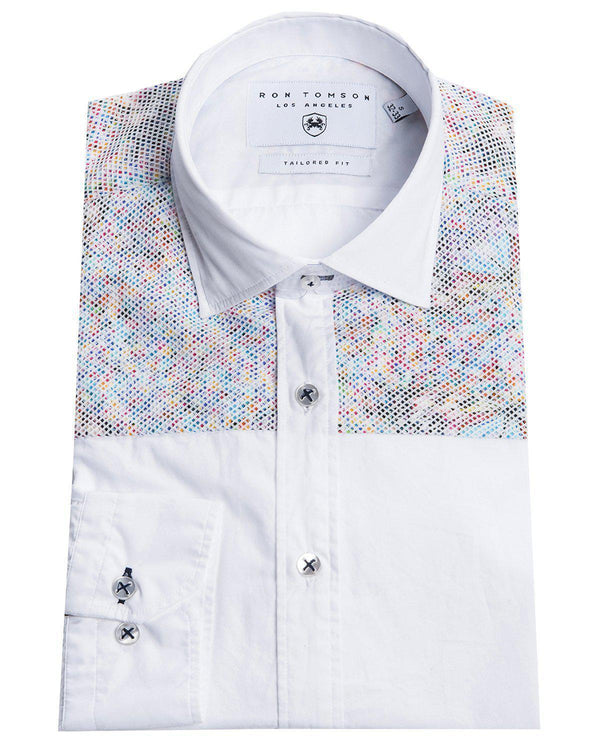 Slim Fit Printed Mesh Shirt- More Colors-Shirts-Ron Tomson-WHITE RED-S-Ron Tomson