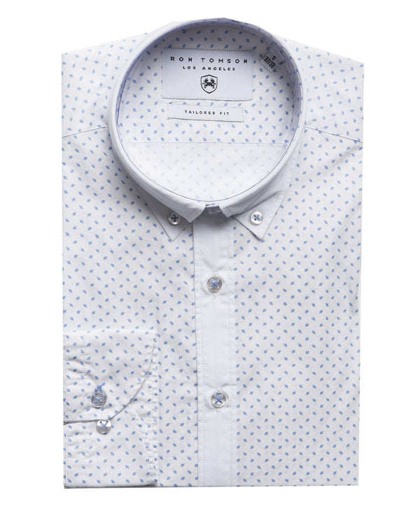 Slim Fit Printed Shirt - More Colors-Shirts-Ron Tomson-WHITE BLUE-S-Ron Tomson