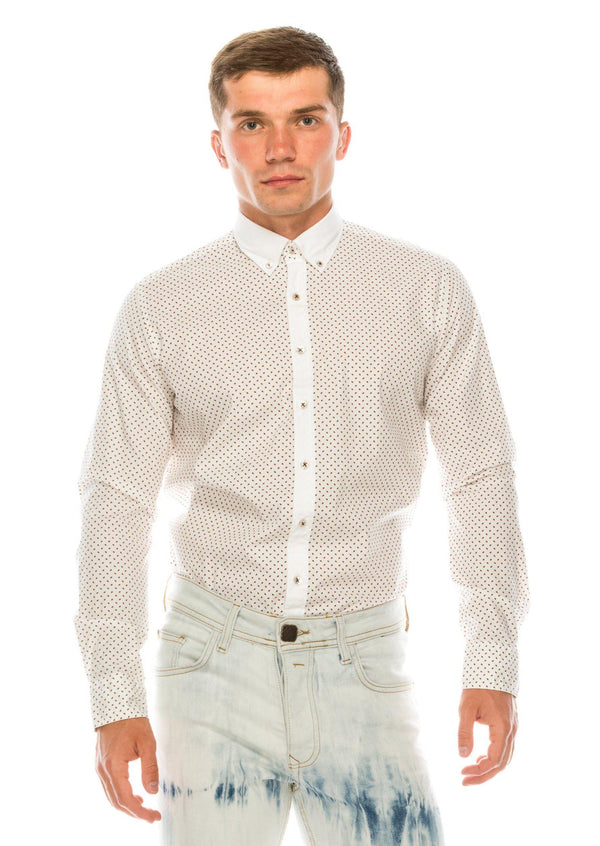 Slim Fit Printed Shirt - White Brown - Ron Tomson