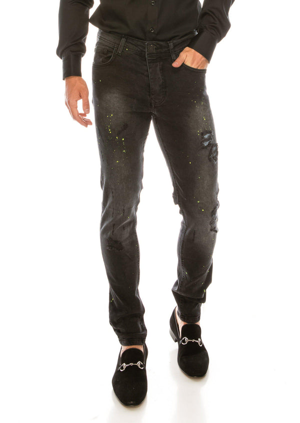 SLIM FIT STONE WASHED BLACK JEANS