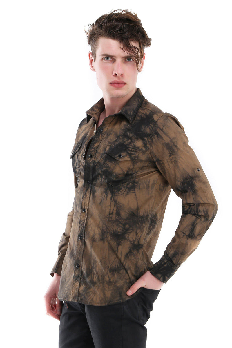 Slim Fit Tiedye Button Up Shirt - More Colors-Shirts-Ron Tomson-CAMEL-S-Ron Tomson