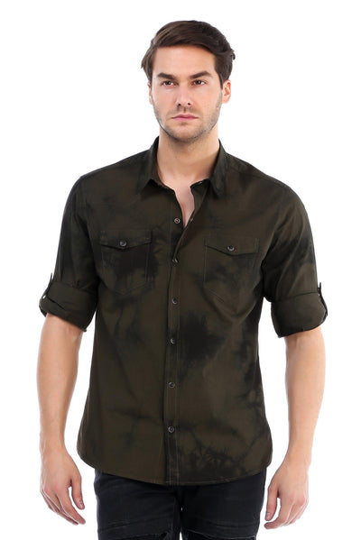 Slim Fit Tiedye Button Up Shirt - More Colors-Shirts-Ron Tomson-GREEN-S-Ron Tomson