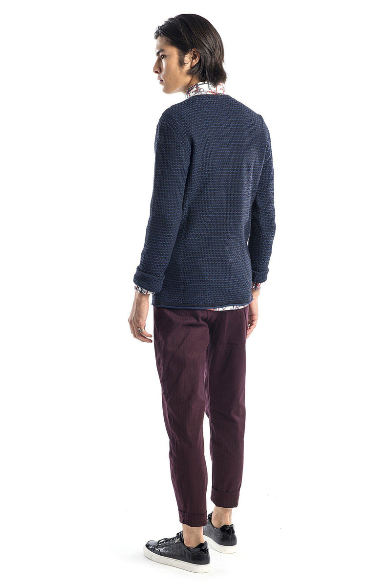 Slim Fit Waffled Henley Sweater - NAVY - Ron Tomson