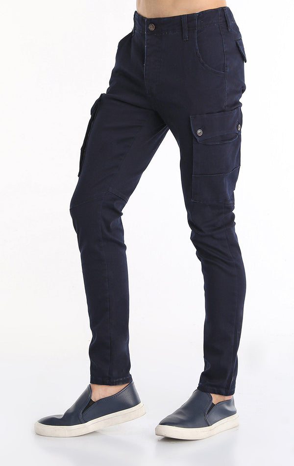 Slip Pocket Ankle Tight Jeans - Navy