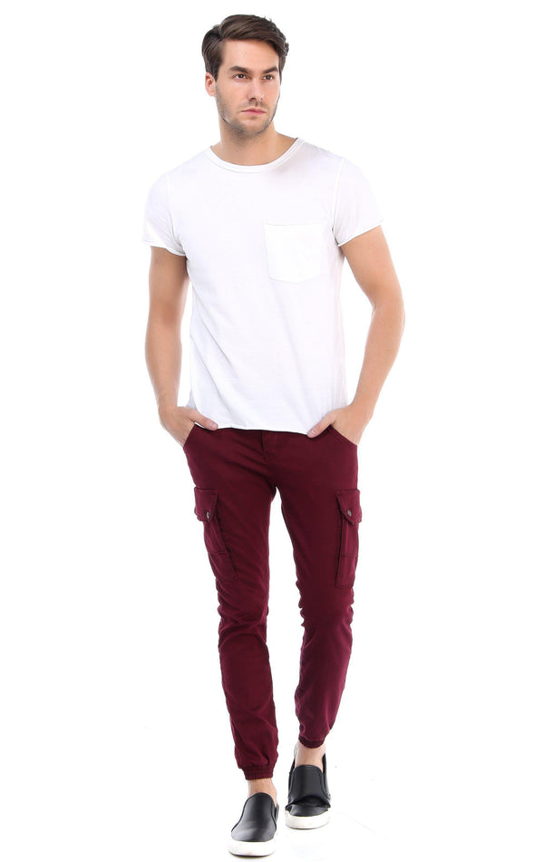 Slip Pocket Ankle Tight Jeans - Wine
