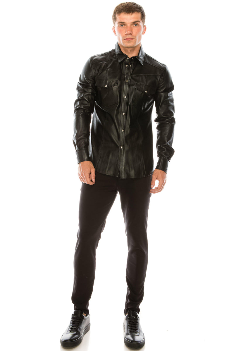 Snap Button Genuine Leather Shirt - Black - Ron Tomson