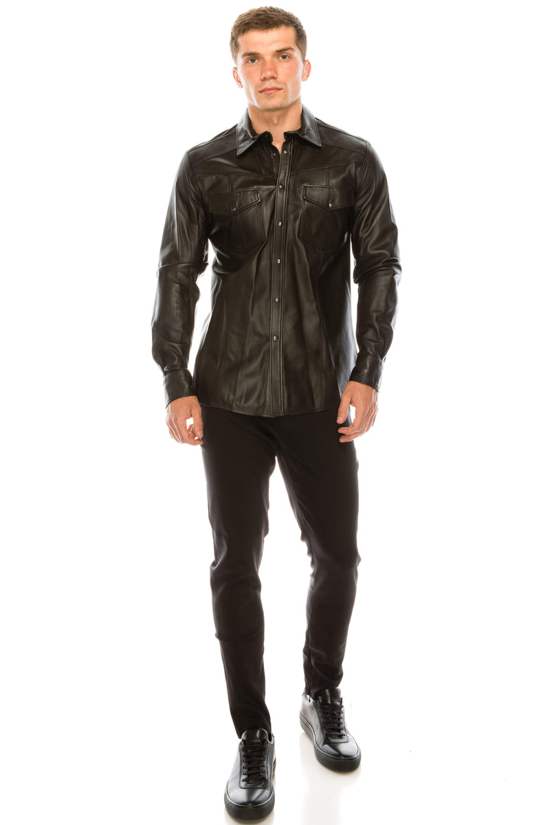 Snap Button Genuine Leather Shirt - Dark Brown - Ron Tomson