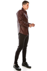 Snap Button Genuine Leather Shirt - Wine - Ron Tomson