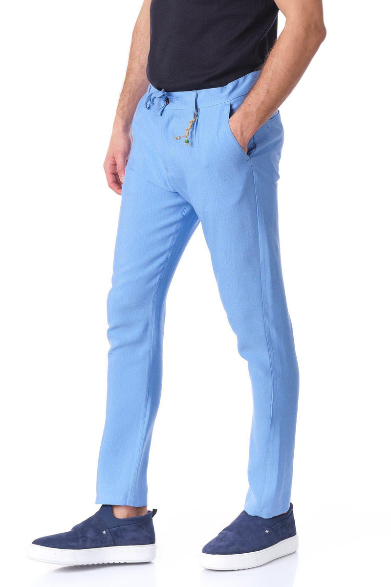 Solermo Lightweight Drawstring Pants - Blue - Ron Tomson