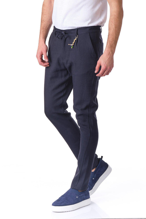 Solermo Lightweight Drawstring Pants - Navy - Ron Tomson