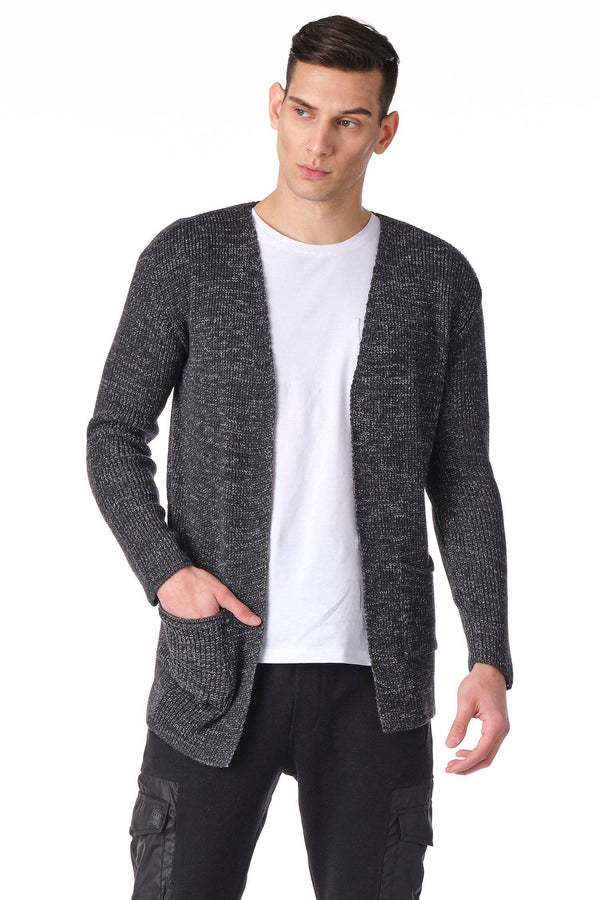 Square Neck Lightweight Resort Cardigan  - Anthracite Grey - Ron Tomson