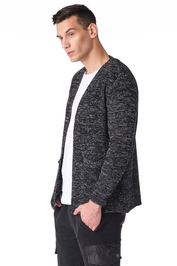 Square Neck Lightweight Resort Cardigan - Black White - Ron Tomson
