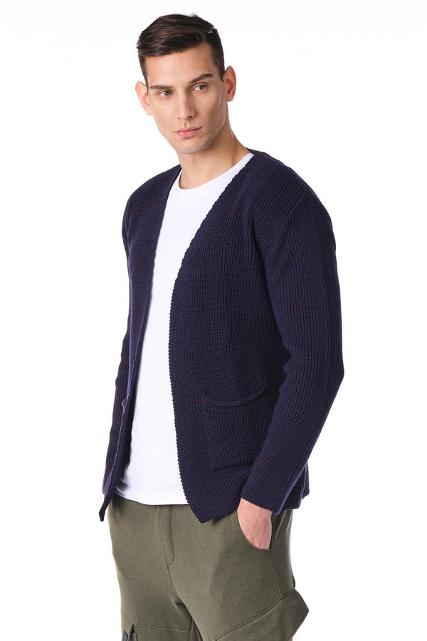 Square Neck Lightweight Resort Cardigan - Burgundy Navy - Ron Tomson