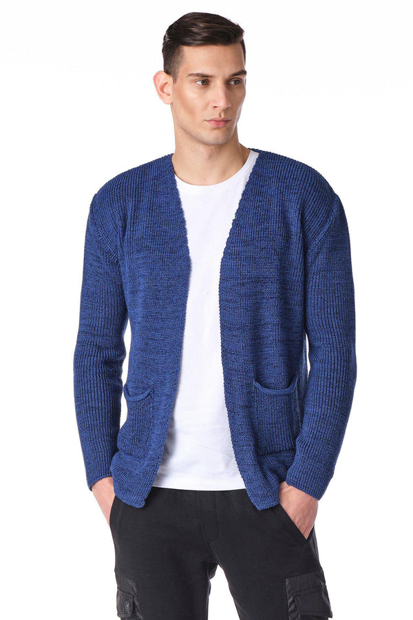Square Neck Lightweight Resort Cardigan - Indigo Navy - Ron Tomson