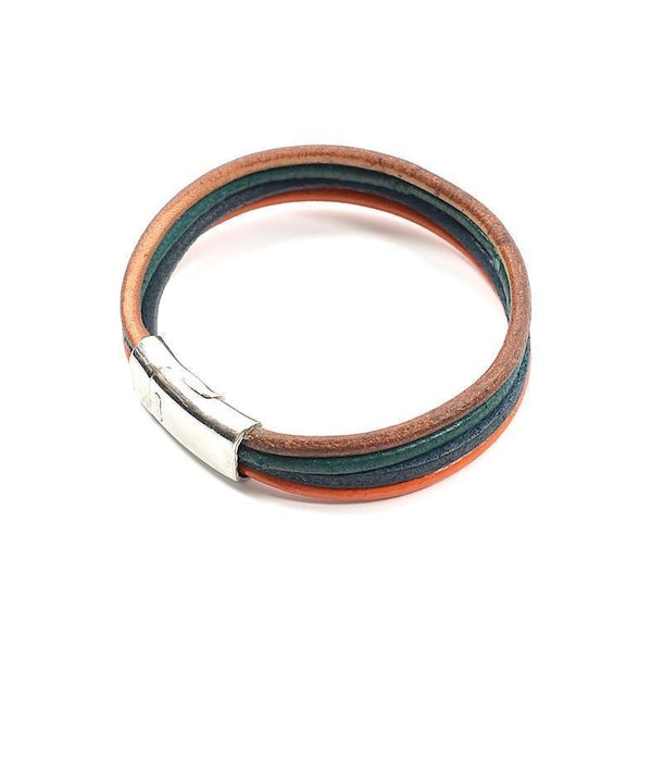 Stacked Leather Magnet Bracelet