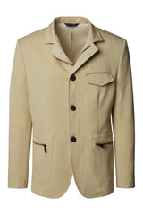 Stand Collar Sports Coat - Stone - Ron Tomson