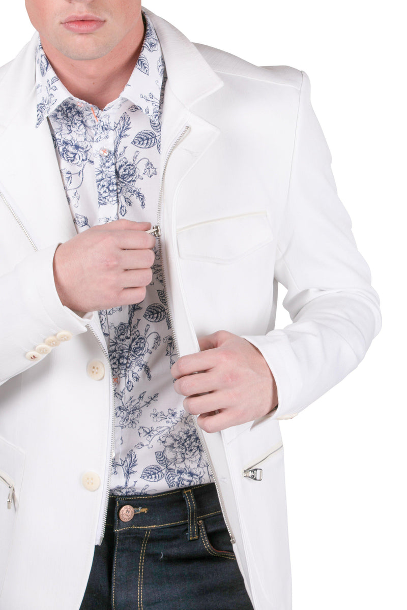 Stand Collar Sports Coat - White