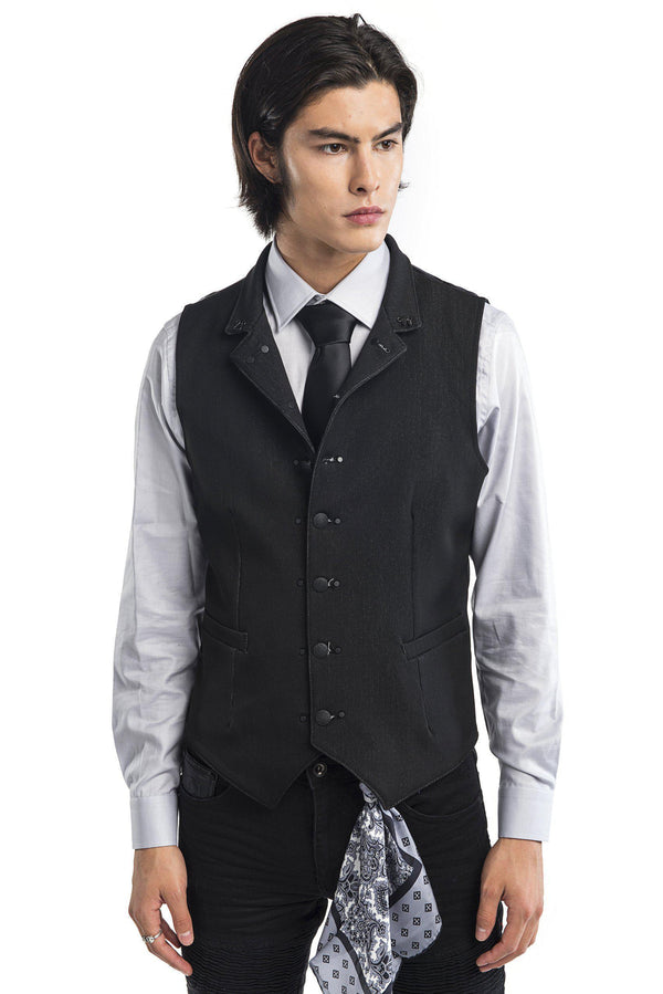 Stand Up Notch Collar Vest - More Colors-Vests-Ron Tomson-BLACK-M/38-Ron Tomson