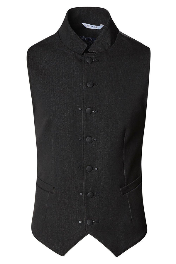 Stand Up Notch Collar Vest - Black - Ron Tomson