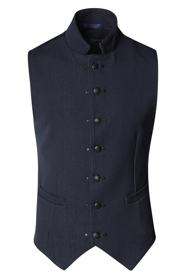 Stand Up Notch Collar Vest - Navy