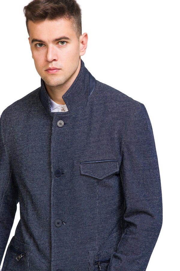 Statesman Knit Jacket - Navy - Ron Tomson