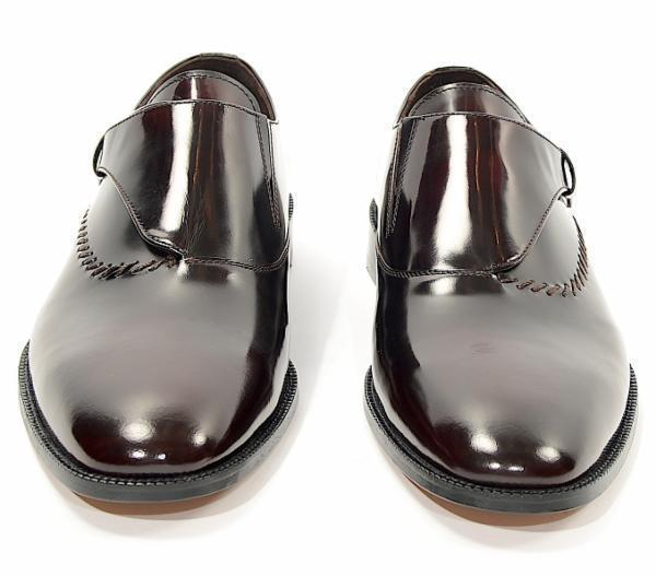 Stitch Detail Monk Strap - Burgundy