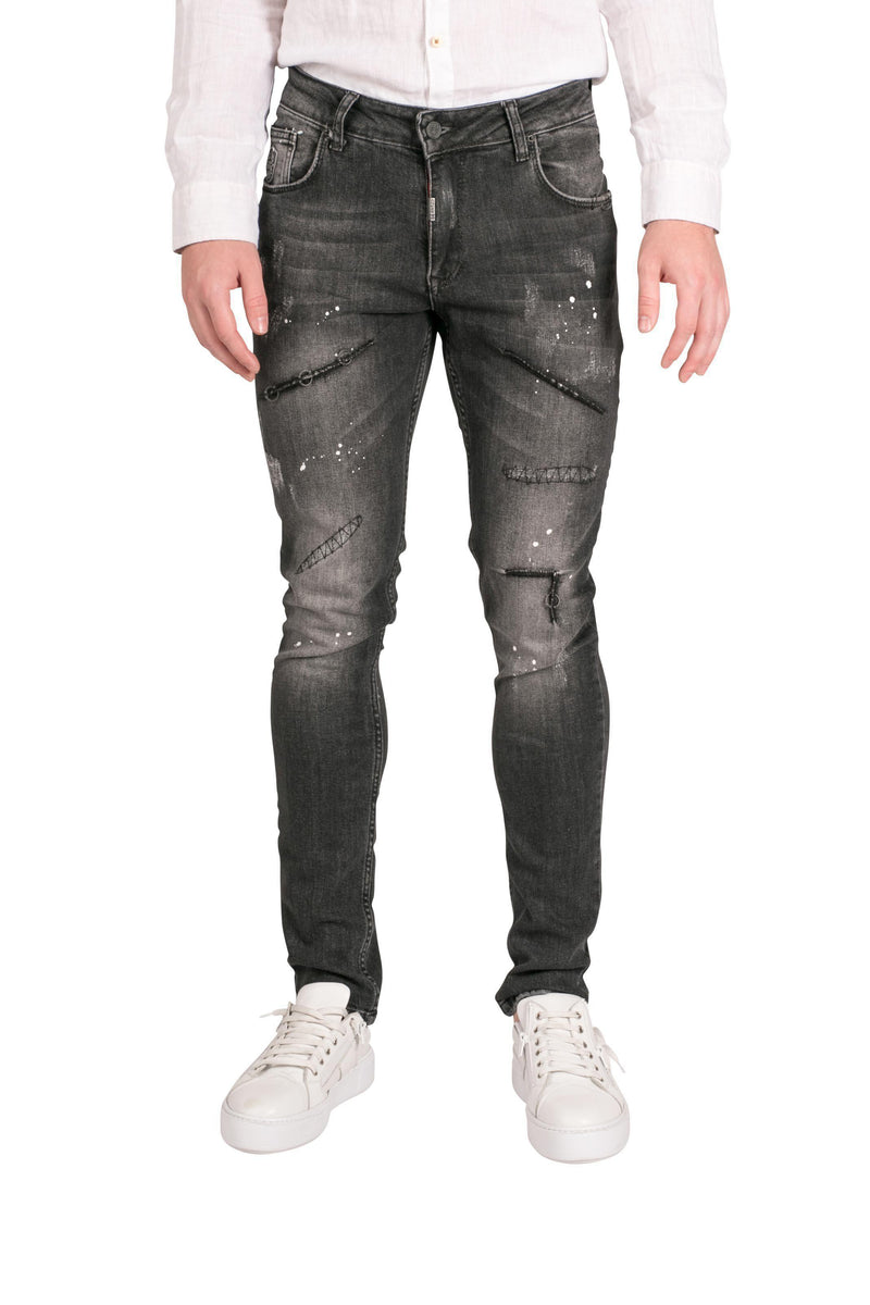 Washed Repair Stitched Ring Denim-Jeans-Ron Tomson-BLACK-29-Ron Tomson