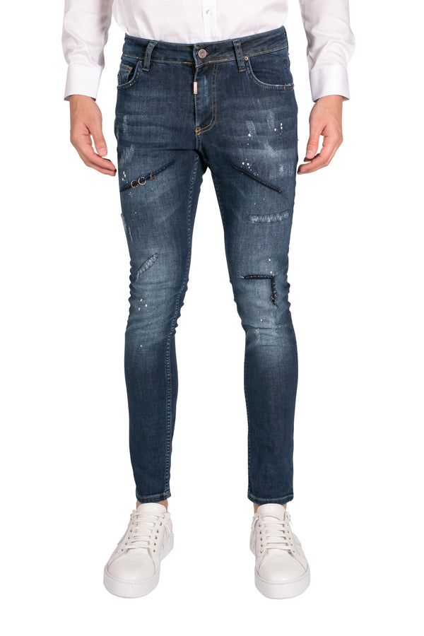 Washed Repair Stitched Ring Denim-Jeans-Ron Tomson-NAVY-29-Ron Tomson
