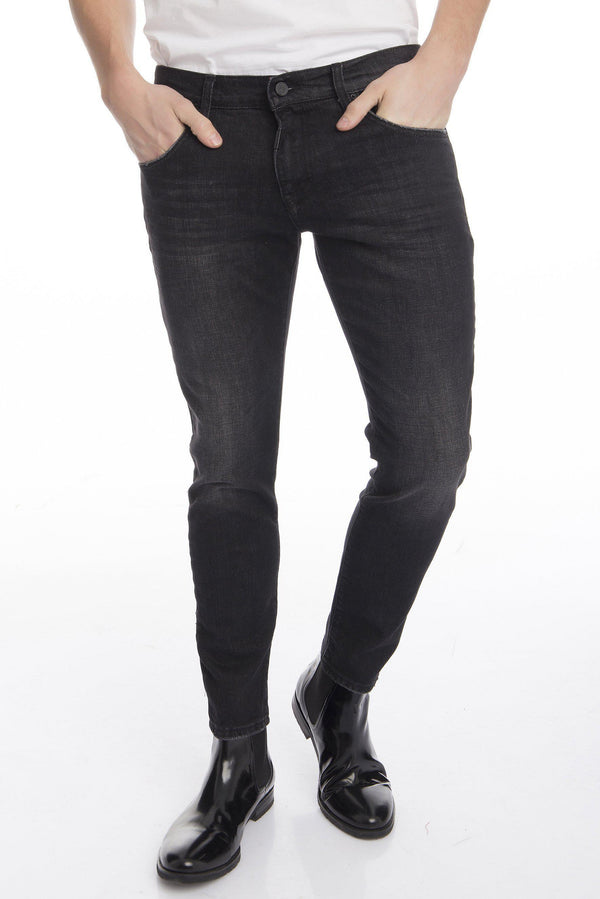 Stone Washed Tapered Denim - Black - Ron Tomson