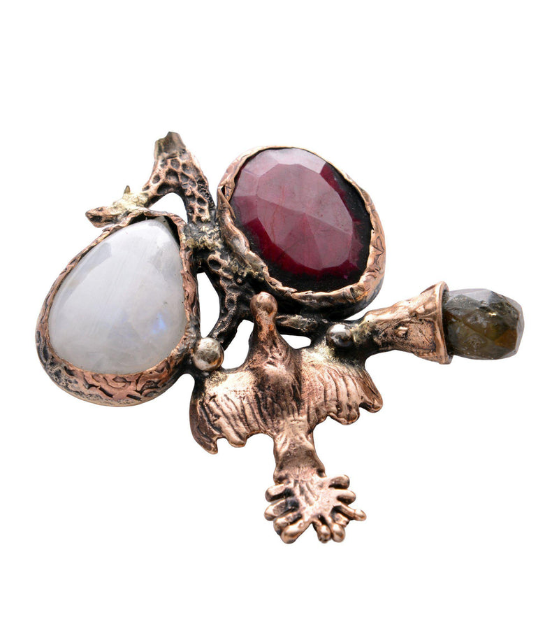 Stones and Oiseau Pendant Brooch - Ron Tomson