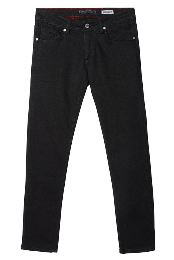 Straight Taper Denim Jeans  - BLACK - Ron Tomson