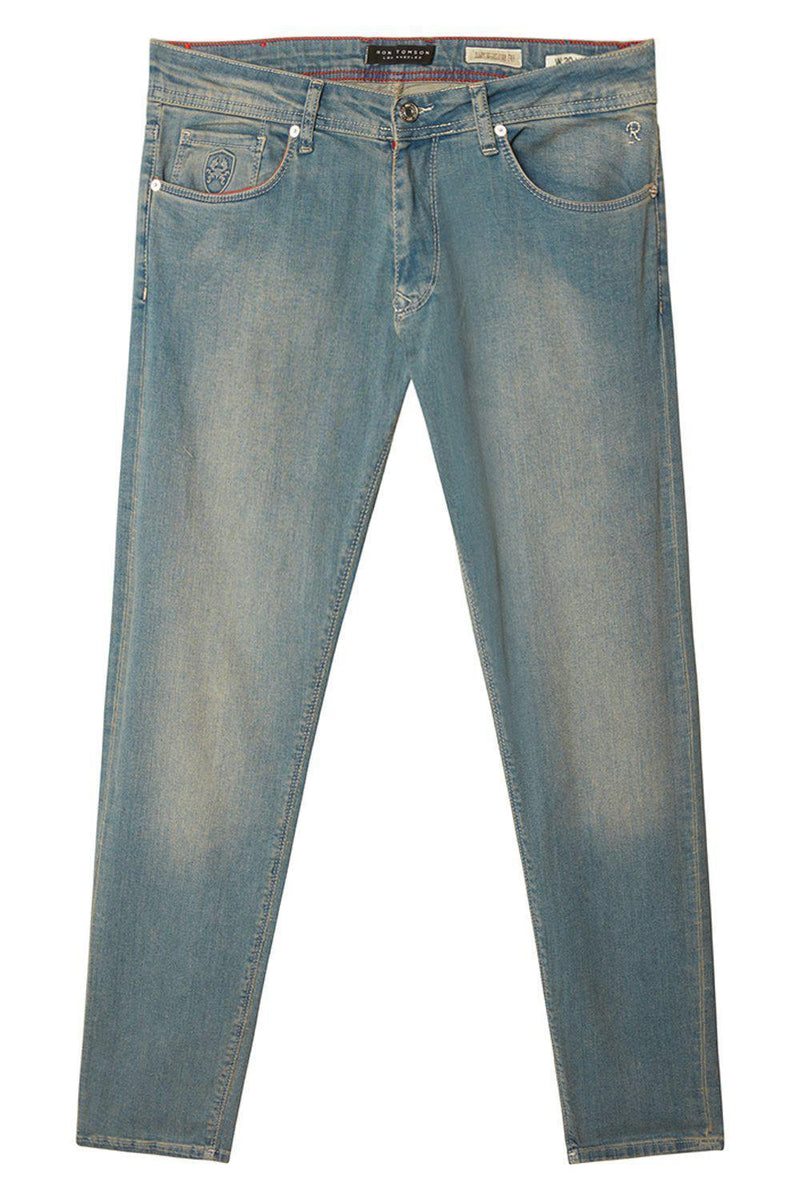 Straight Taper Denim Jeans - ICE BLUE - Ron Tomson