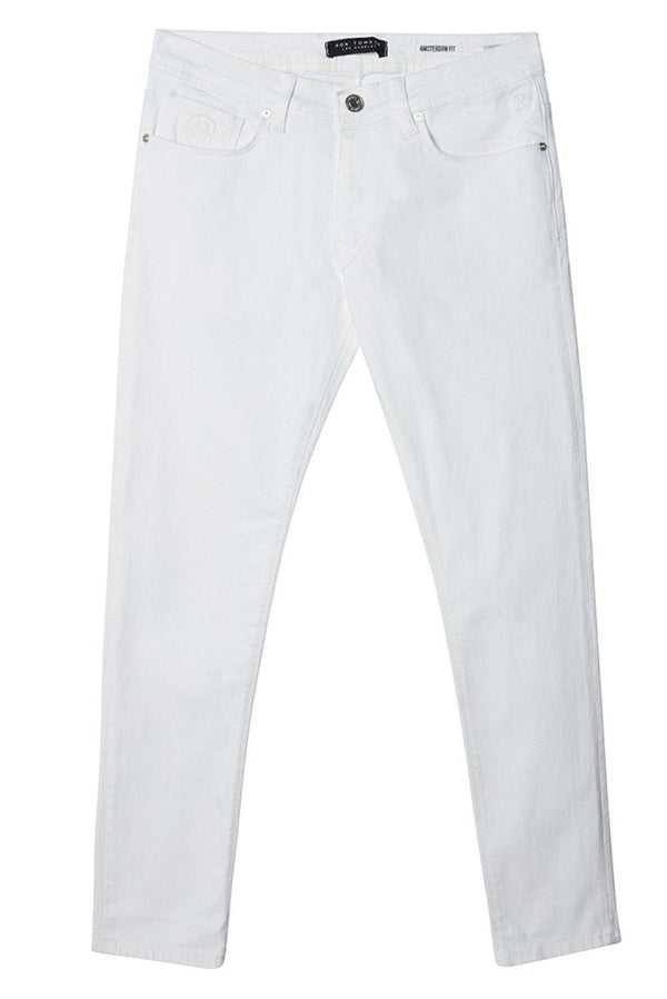 Straight Taper Denim Jeans  - WHITE