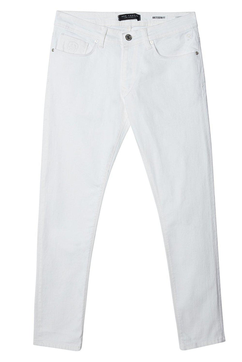 Straight Taper Denim Jeans  - WHITE - Ron Tomson