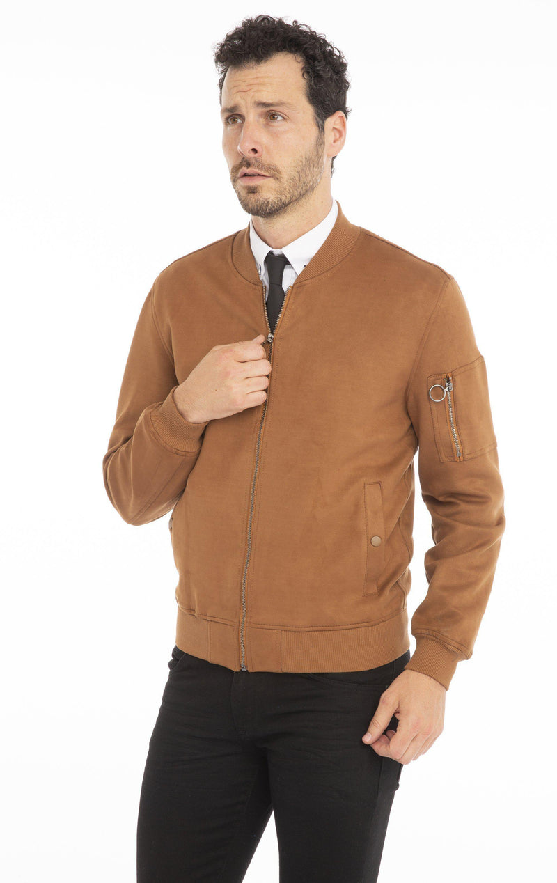 Stretch Suede Finish Bomber Jacket - Ron Tomson