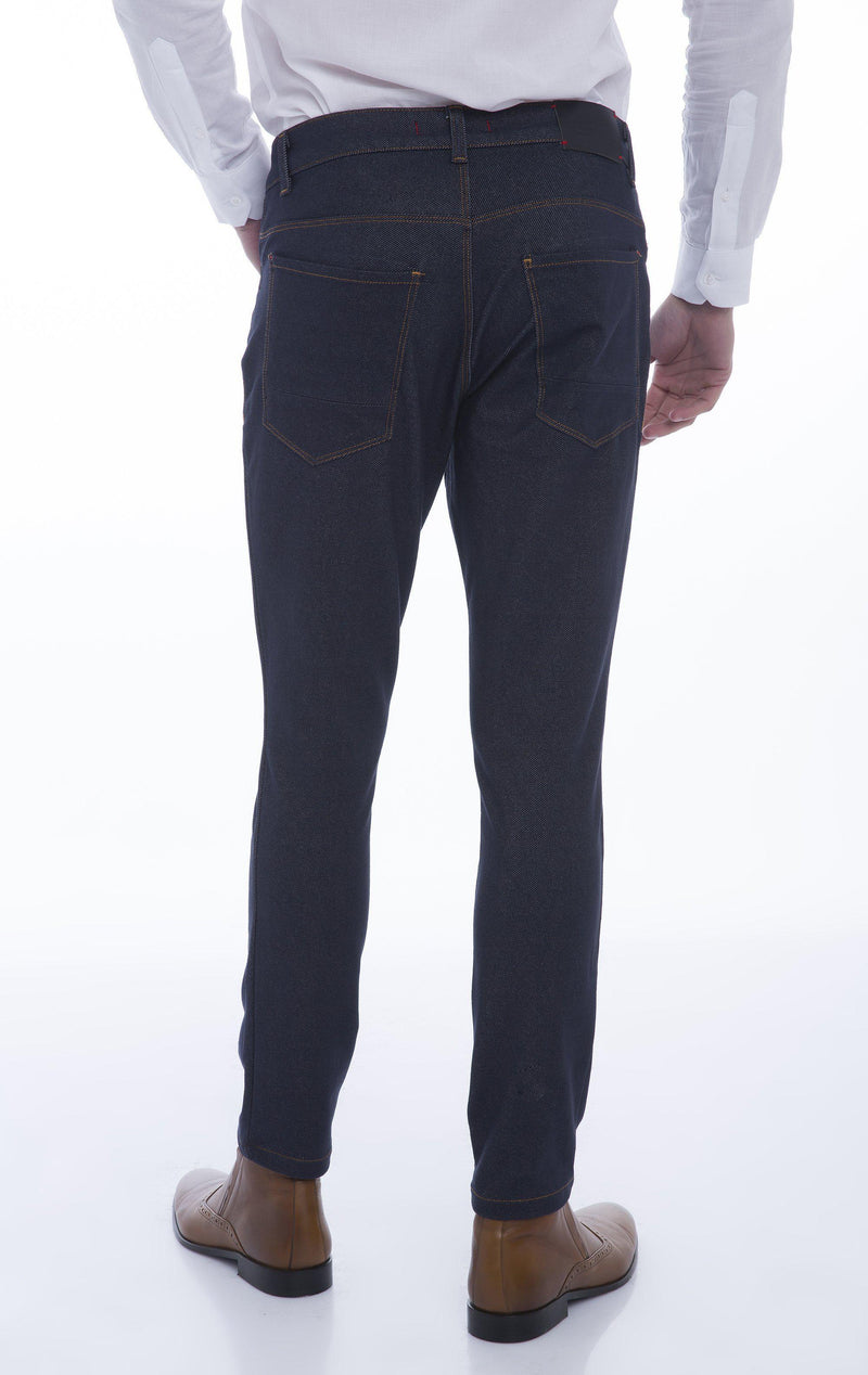 Stretchy Slim Fit Track Pants - Navy - Ron Tomson