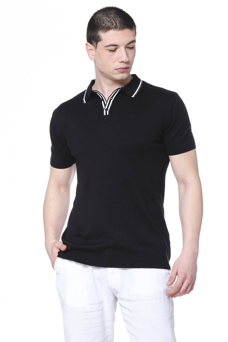 Stripe Collar Polo Shirt - Black - Ron Tomson
