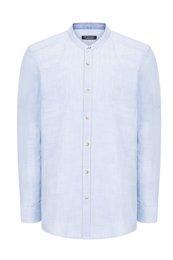 Striped Cotton Shirt - BLUE