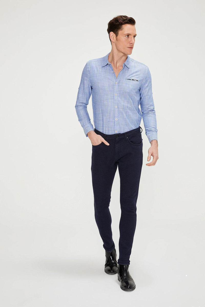 Striped Cotton Shirt - DARK BLUE - Ron Tomson