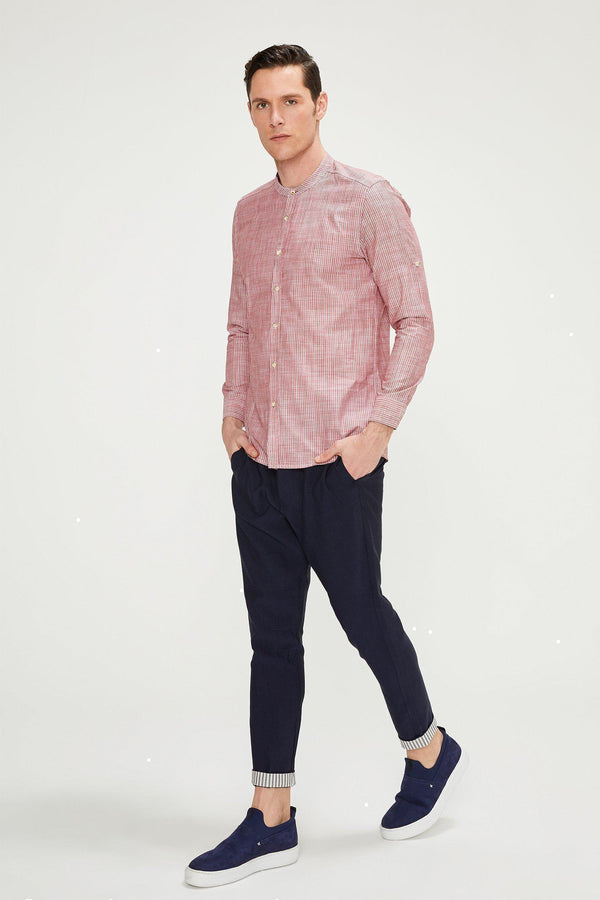 Striped Cotton Shirt - RED - Ron Tomson