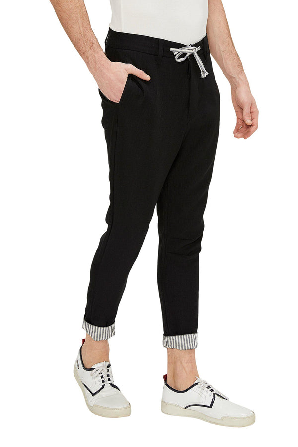 Striped Cuff Pants - Black - Ron Tomson