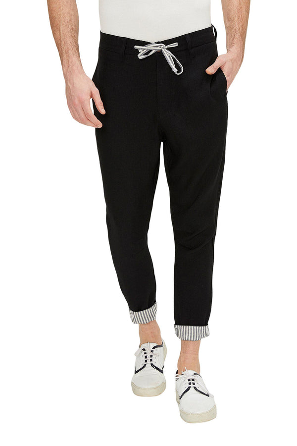 Striped Cuff Pants - Black
