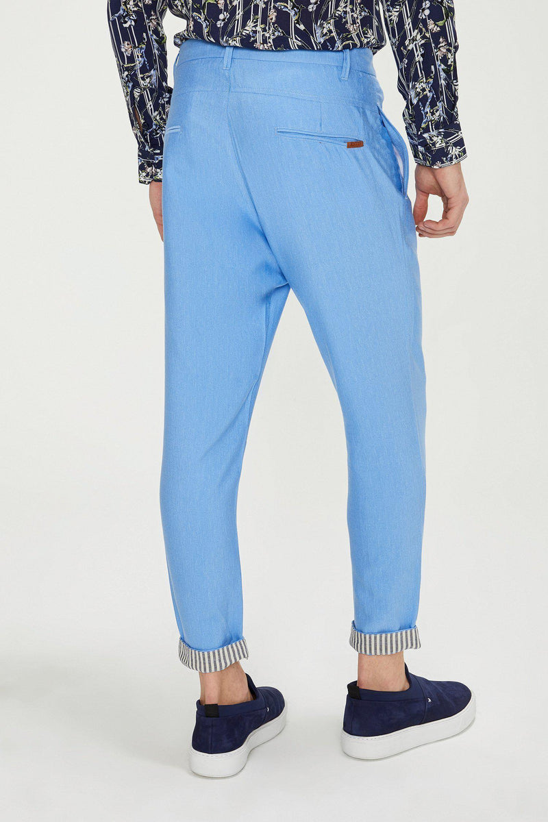 Striped Cuff Pants - Blue