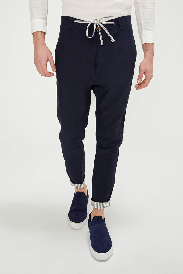 Striped Cuff Pants - Navy - Ron Tomson