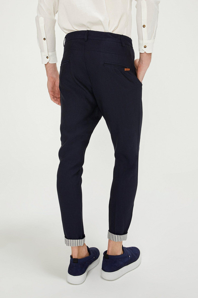 Striped Cuff Pants - Navy
